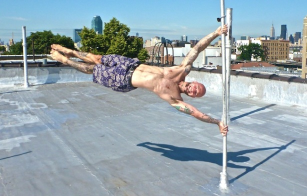 Human Flag posture calisthenics, bodyweight training, strength training.