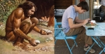 Posición de sentadilla, comparativa de cavernícola con humano moderno, calistenia.