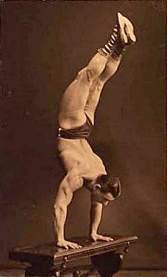 Handstand posture calisthenics, bodyweight training, strength training. vintage