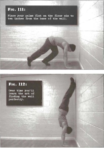 Parada de mano apoyada en pared (wall handstand) calistenia entrenamiento de fuerza, entrenamiento de peso corporal, calisthenics, bodyweight training, stregth training. convict conditioning, paul coach wade